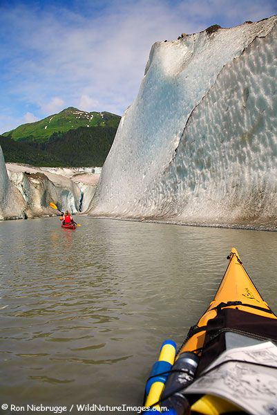 Kayaking in front of Mendenhall Glacier on Mendenhall Lake, Tongass National Forest, Juneau, Southeast, Alaska