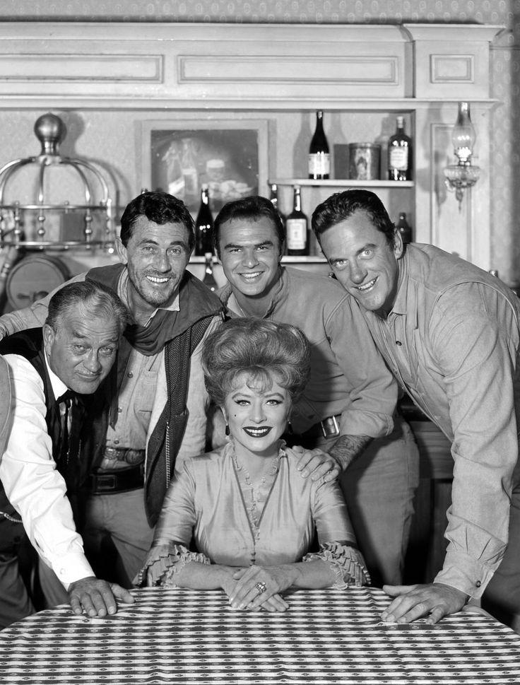 Gunsmoke main cast photo from the 1962-65 vintage - L-R Milburn Stone, Ken Curtis, Burt Reynolds, James Arness and Amanda Blake.