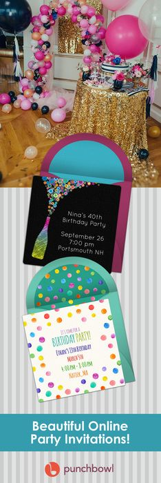 Paper invites are too formal, and emails are too casual. Get it just right with online invitations from Punchbowl. We've got everything you need for your birthday party.      http://www.punchbowl.com/online-invitations/category/47/?utm_source=Pinterest&utm_medium=33.2P