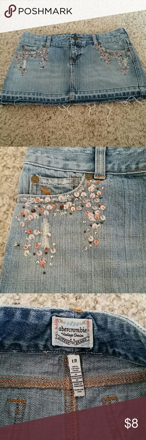 Vintage denim Abercrombie jean skirt Like new distressed, sequin detail jean skirt Abercrombie & Fitch Bottoms Skirts