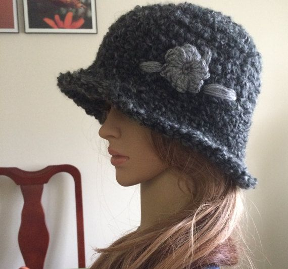 Crocheted bowler hat.Winter bowler hat.Fedora hat.Gray by TemiM