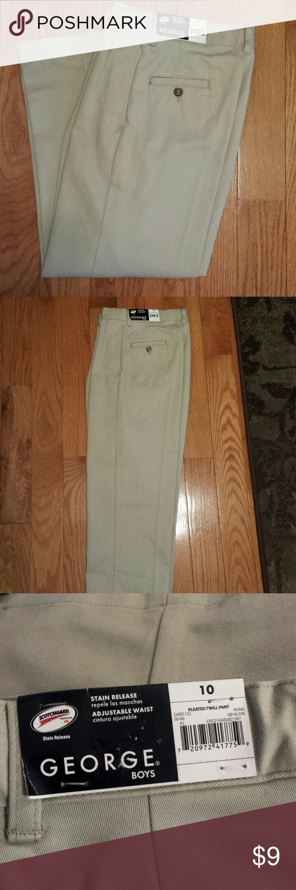 NWT Boys Khaki Pants Size 10 BRAND NEW Boys Khaki Pants Size 10; Adjustable waist; Scotchgard Stain Release; VERY NICE!! George Bottoms Casual