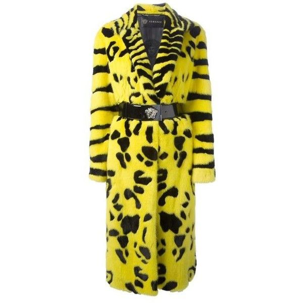Preowned Iconic Very Rare Versace Zebra Animal Intarsia Mink Coat Fall... ($79,500) ❤ liked on Polyvore featuring outerwear, coats, multiple, animal print coat, mink coat, animal coat, zebra print coat and yellow coat