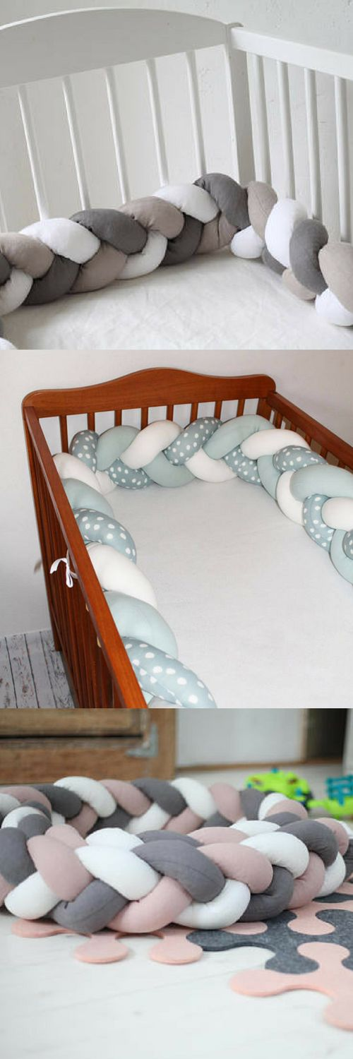 Baby crib bumper, LINEN, Mixed color Braided Crib Bumper, Crib Bedding, Knot Pillow, Linen Pillows, Nursery Decor, baby shower gift #ad