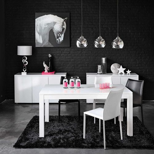 Chaise en cuir blanche klint buffets blanc et table de for Table et chaise de salle a manger maison du monde