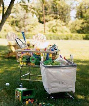 organizing outdoor toys.