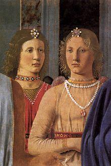 Piero  della Francesca -Pala di Brera - Gli angeli con i gioielli