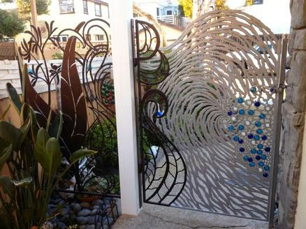 Beautiful Ocean Wave Gate In Iron Amp Glass For A Beach