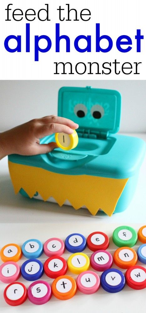 DIY: All you need for this perfect letter recognition activity is a plastic baby wipes container, bottle caps, and stickers.