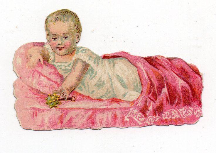 Chromo découpi oblaten glanzbild die cut  Bébé Hochet Baby: