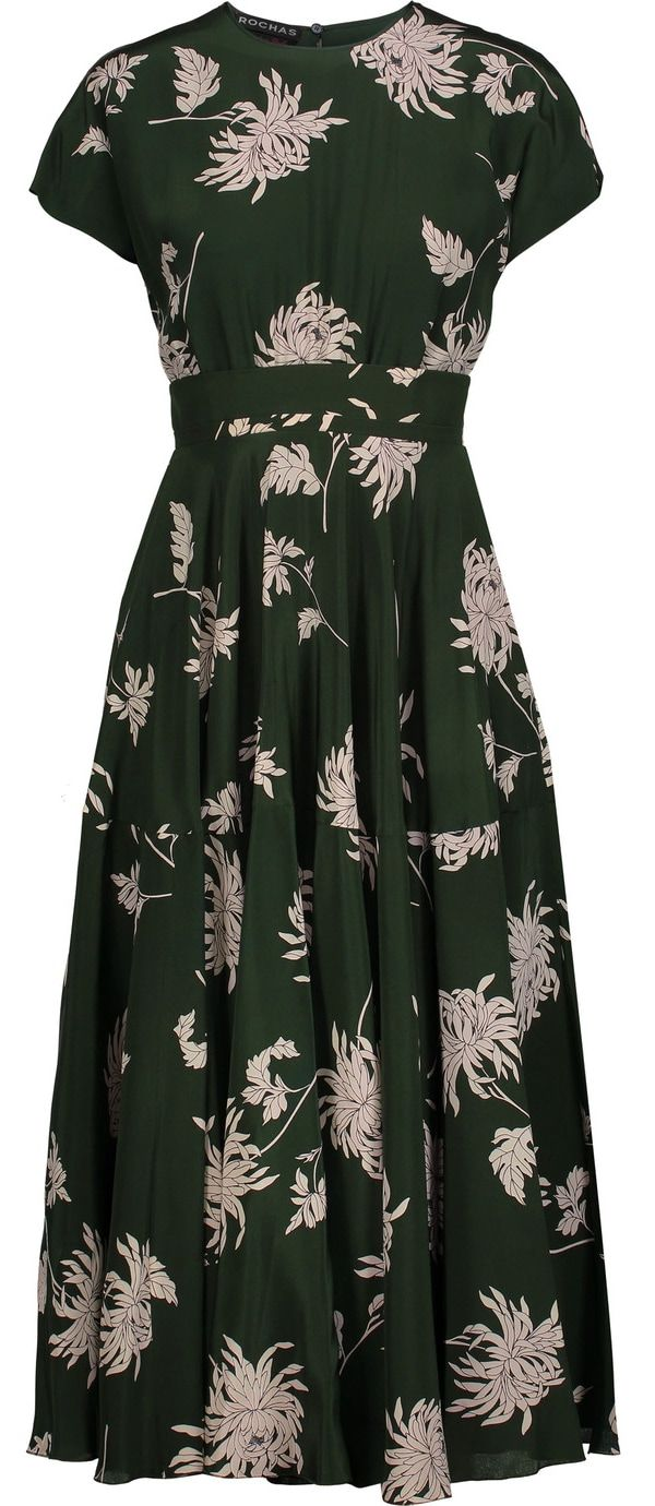 Rochas forest green Dahlia-print silk-charmeuse midi dress