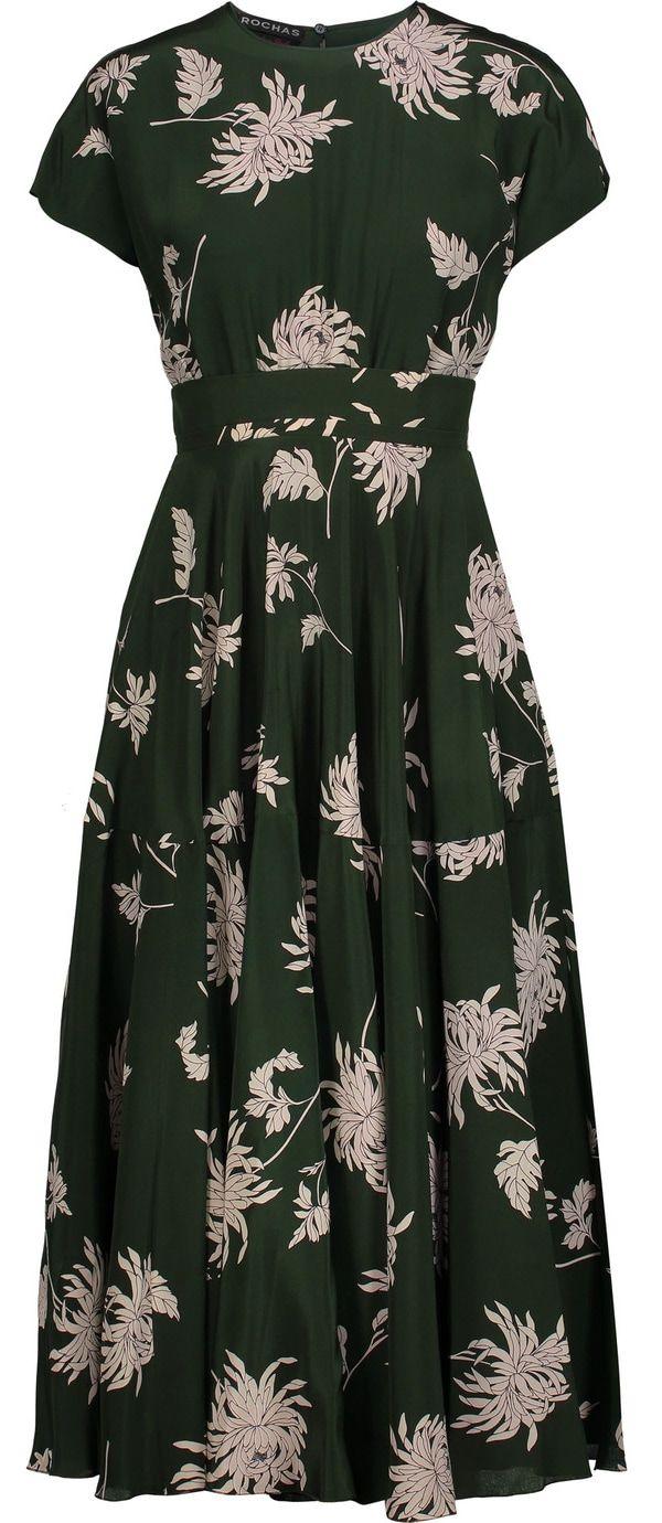 Rochas forest green Dahlia-print silk-charmeuse midi dress