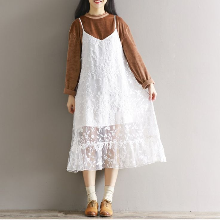 Woman Sexy Mesh Lace Spaghetti Strap Double Layer Loose Organza Dress Summer Beach Floral See Through Sundress