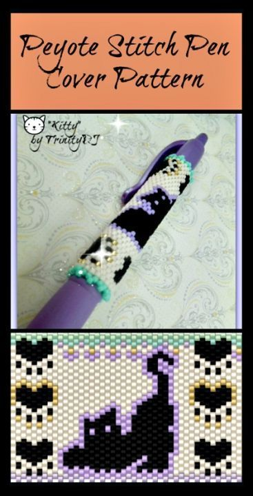 Kitty (Pen Cover) Beading Pattern by Lorraine Hickton (Coetzee) aka TrinityDJ at Sova-Enterprises.com