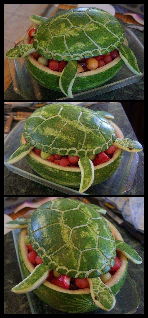 Creative and Cheap Beach Party Ideas | Watermelon Sea Turtle by DIY Ready at diyready.com/...