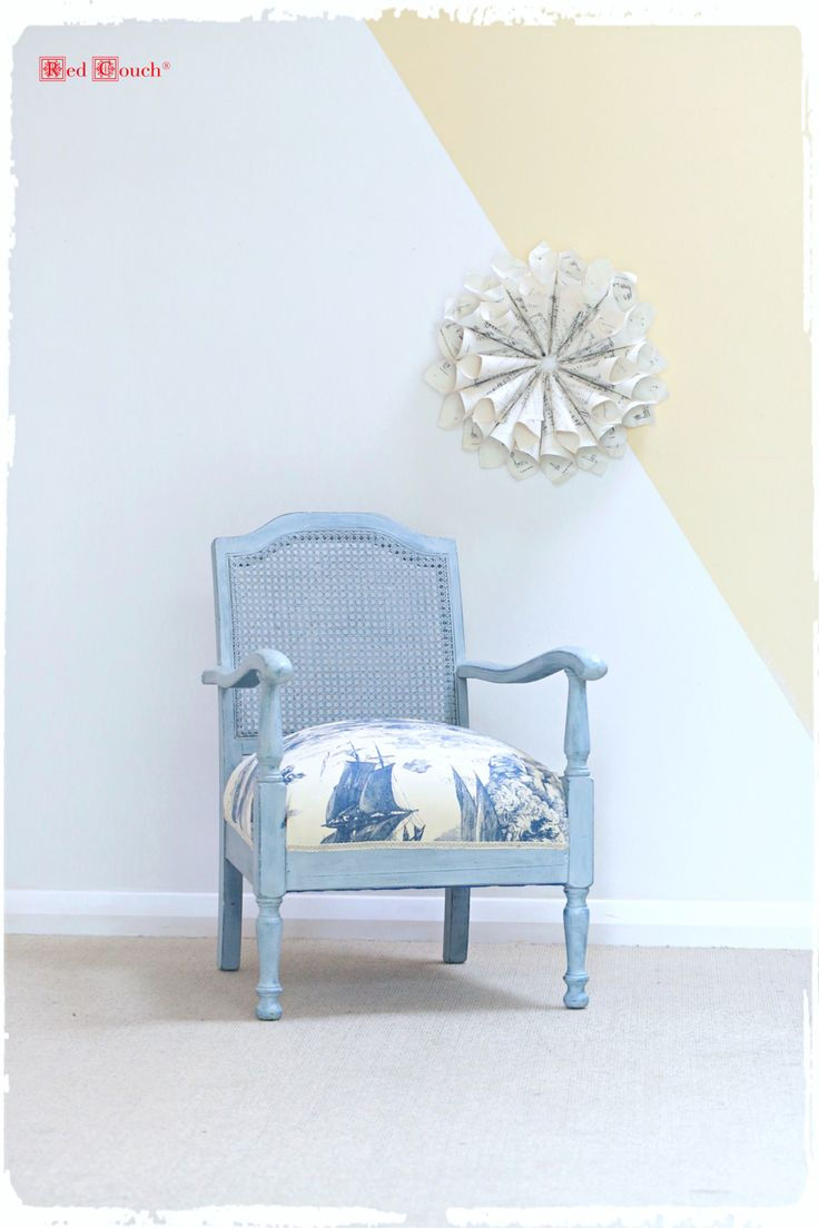 Chic upholstered armchair in toile. Layered and distressed chalk paint. Hemp oiled afterwards. #upholstery #armchair #toile