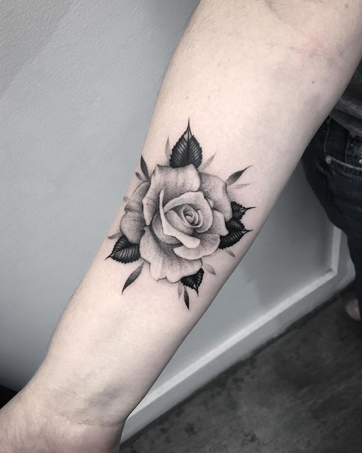 Inked rose on arm by lazerliz