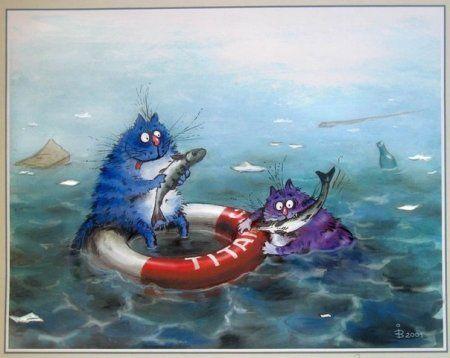 Картинки для декупажа: Синие коты