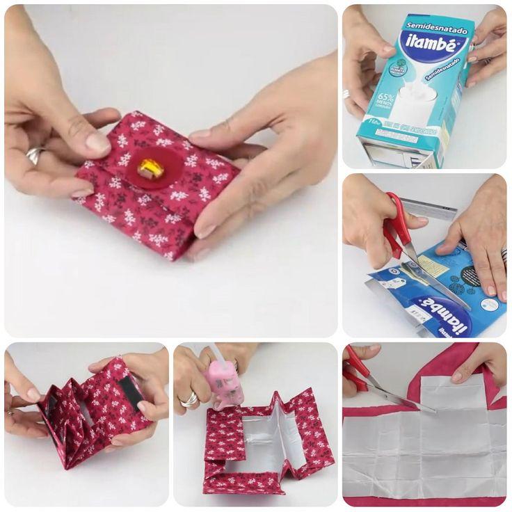 Portamonete riciclando i cartoni del latte #tutorial #diy #riciclo