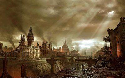 壁紙をダウンロードする ポストapokalipsis, ロンドン, 遺跡, ビッグベン