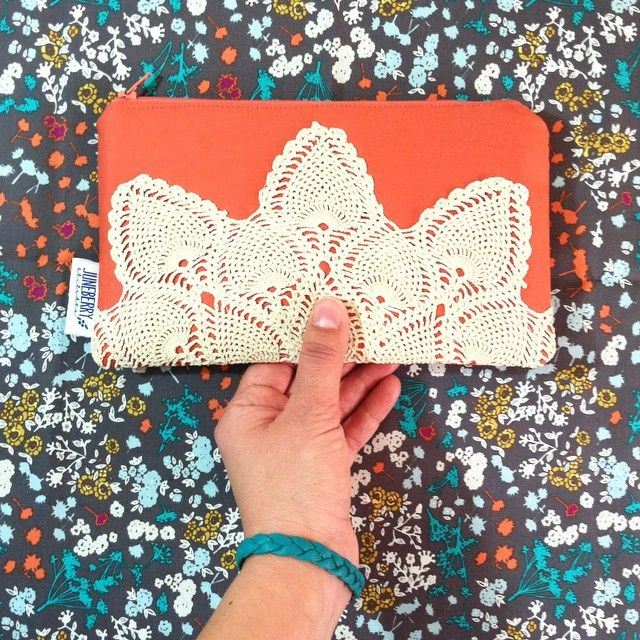 Coral vintage doily zipper clutch by #juneberrystitches