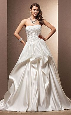 Ball Gown Sweetheart Chapel Train Satin Wedding Dress – USD $ 199.99