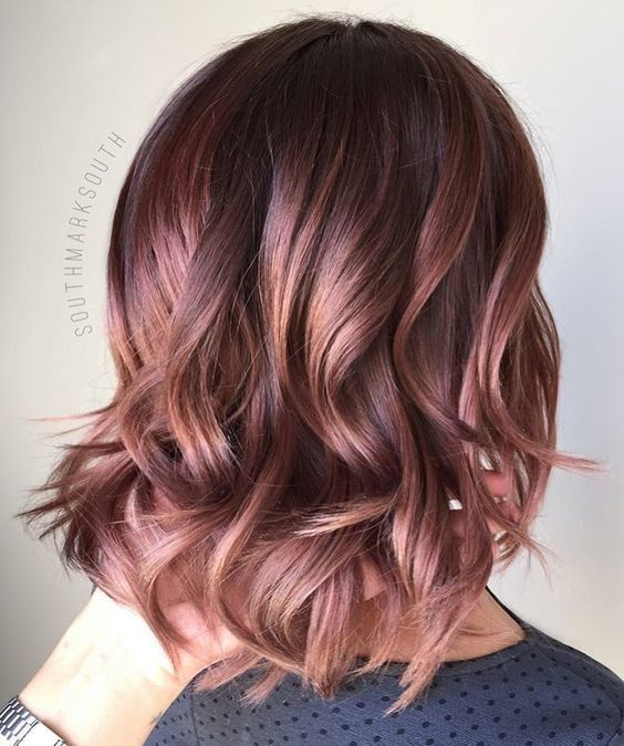Ideas for bronze hair color - rose gold hair