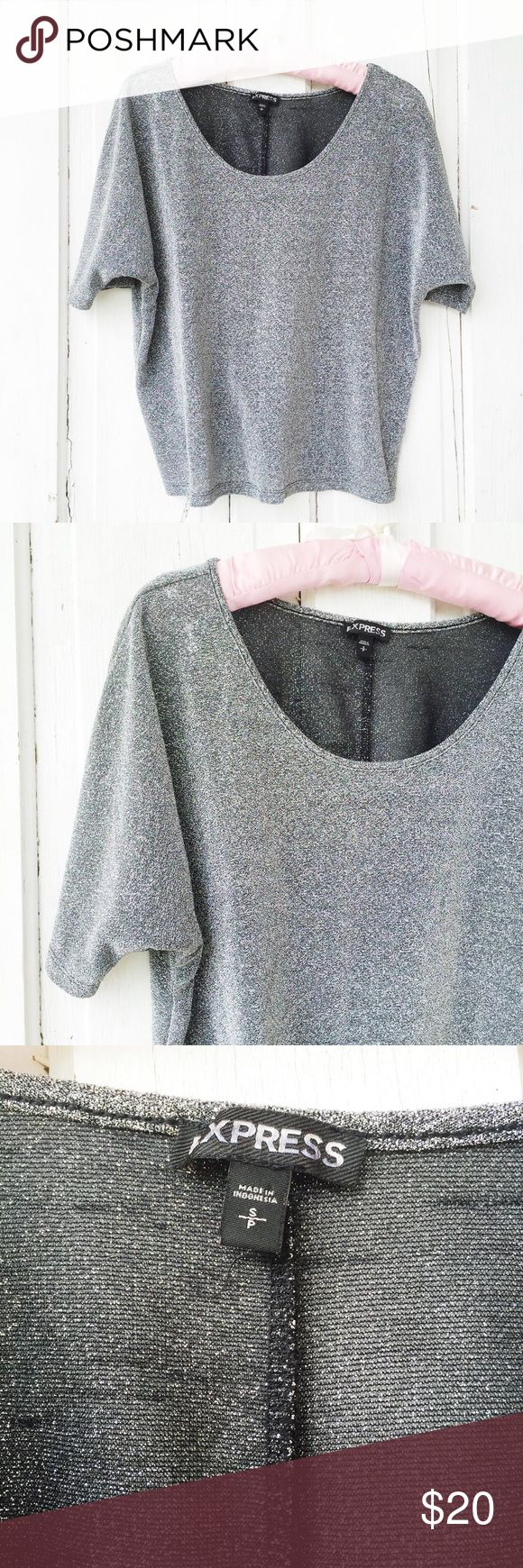 Express Metallic Batwing Top ★ EUC  ★ Measurements available upon request. ★ Reasonable Offers Accepted ★ No Trades ★ No Modeling (EXPS)14 Express Tops Tees - Short Sleeve
