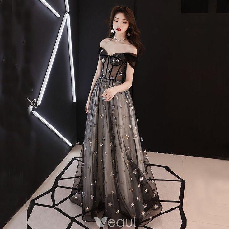 elegante schwarze durchsichtige ballkleider 2019 a linie princess