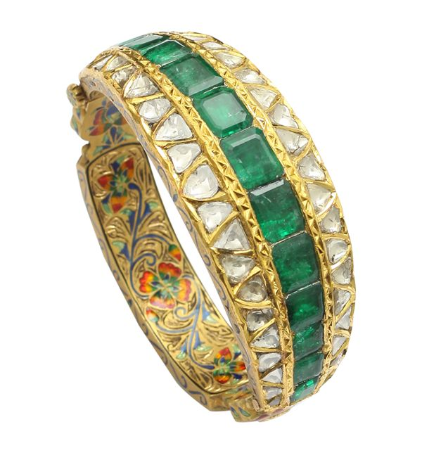 Emerald and Polki diamond cuff... the enamel is interesting...