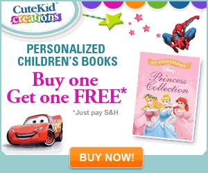 Buy 1 Get 1 Free Personalized Kids Books: Get 2 Personalized Kids Books for only 19.99 (Plus Shipping). Choose from Cars, Toy Story, Spider-Man, Elmo, or Dora.