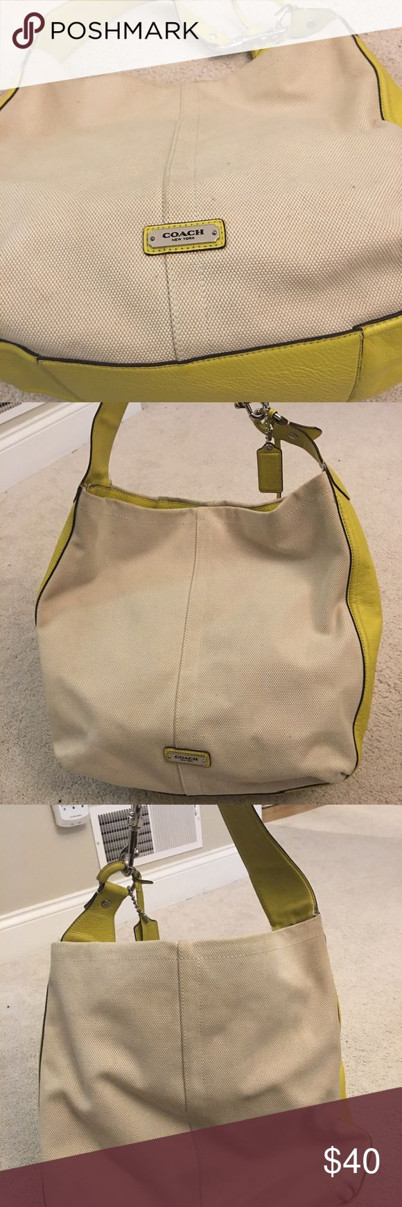 Coach brand Spring/Summer bag! Gently used Coach handbag, cream canvas material trimmed with chartreuse leather and accents. Coach Outlet bag. Perfect for spring and summer. Coach Bags Shoulder Bags