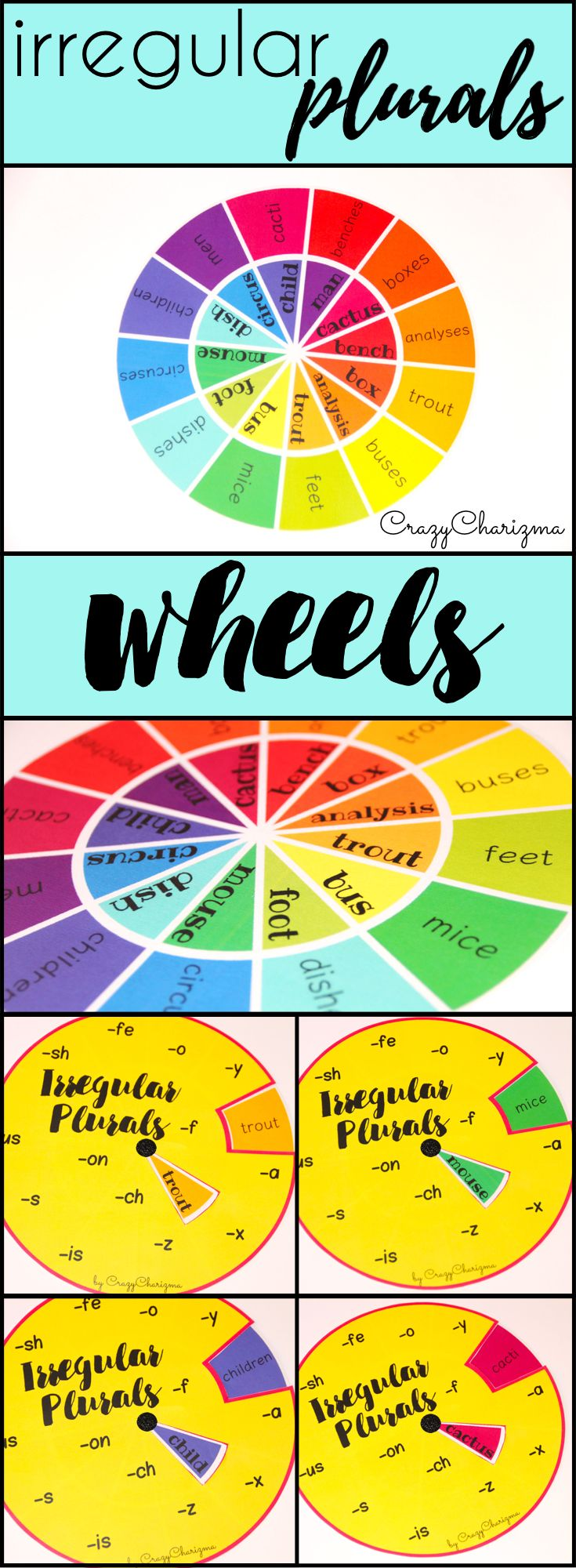 Have fun practicing irregular plurals in primary and elementary school. These wheels are bright way to practice different plural forms. 108 words to work with! Find 9 easy prep colorful and 9 black and white wheels inside. | CrazyCharizma at https://www.teacherspayteachers.com/Store/Crazycharizma