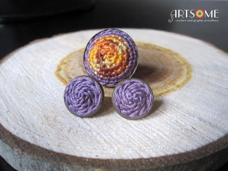 #crochet #jewelery #ring #statementring #jeweleryset #lilac #autumnleaves