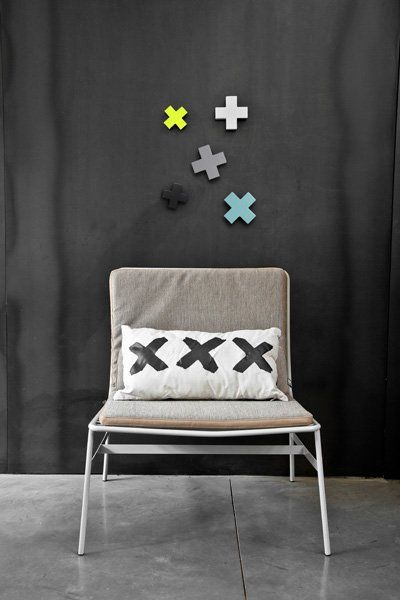 HK-living Kapstok haak , 12x12x4cm kruis neon geel, Cross hook L - wonenmetlef.nl