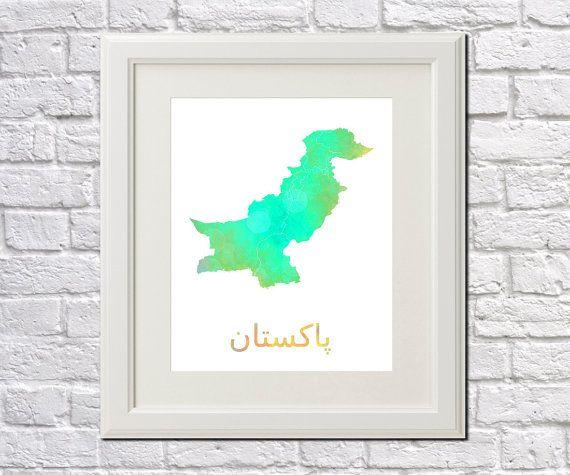 Pakistan artwork Etsy listing at https://www.etsy.com/listing/254973089/pakistan-map-of-pakistan-art-print-home