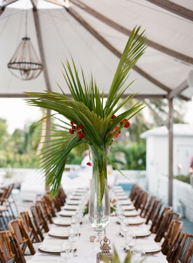 Tropical inspired wedding tablescape: http://www.stylemepretty.com/destination-weddings/2015/11/16/sophisticated-harbour-island-wedding/ | Photography: Almond Leaf Studios - http://almondleafstudios.com/