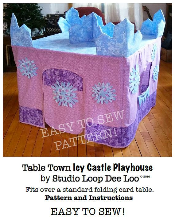 You are purchasing a pdf download file of the patterns and instructions to make this adorable TableTown Icy Castle Playhouse, designed by me, Mary Ellen. When finished, it fits over a standard folding card table (instructions are included for two standard sizes of card tables).  The Icy Castle playhouse is my newest Table Town card table cover design. Its simple to make - if you can sew a straight stitch on a sewing machine - you can make this adorable playhouse. It will be cherished, played…