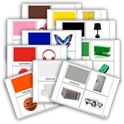 Livro de cores: branco, cinzento, preto, castanho, azul, vermelho, amarelo, verde, roxo, rosa e laranja. Cada livro de cor inclui:  1carta com titulo  10 imagens