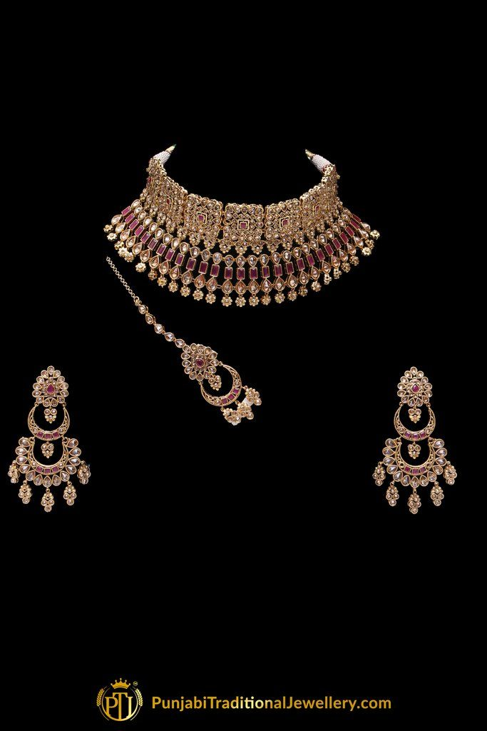 411c19743 Red Polki Champagne Stone Necklace Set By Punjabi Traditional Jewellery