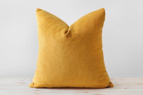 Mustard Velvet Pillow Cover, Mustard Yellow Velvet Cushion, Solid Mustard Throw Pillows, Mustard Lumbar, Saffron Pillow, 18x18 20x20 22x22