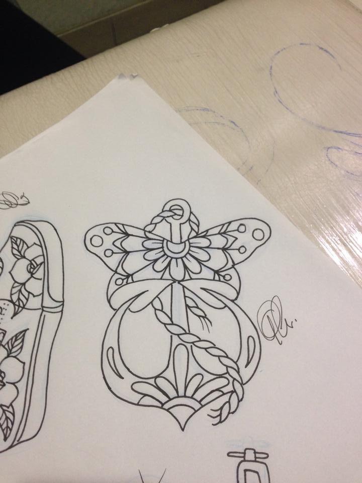 Traditional Butterfly Tattoo Flash: Tattoo Flash #tattoo Anchor #tattoo Butterfly #traditional