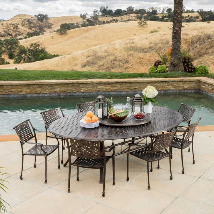 Alcott Hill August 10 Piece Dining Set · Patio Dining SetsAugust 10Lazy  SusanOutdoor ...