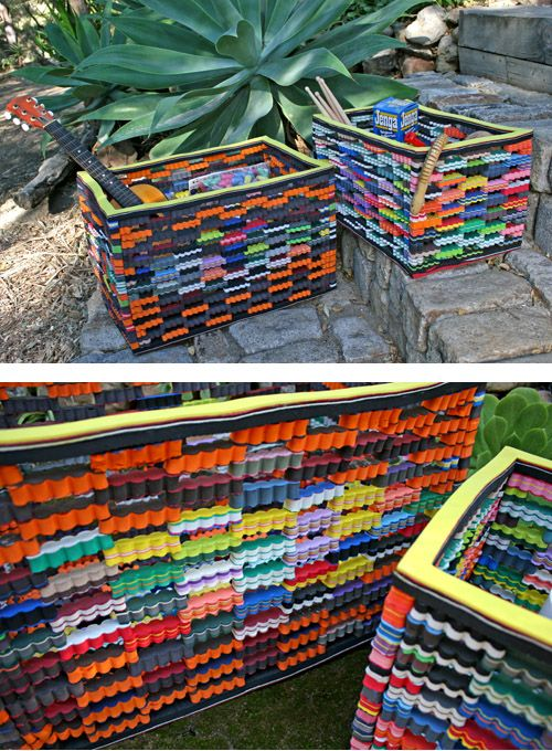 Daryl Hannah's #eco website:  cute flip flop toy bins  great for kids' stuff that need a home. these recycled flip-flop bins - cheerful and indestructible - are tough enough for anything they hold. + they're made from leftover flip-flop material. $ 120