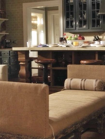 Pretty Little Liars Set.. I love this kitchen. The blue cabinets, the wood block countertops, the white accents. So pretty!