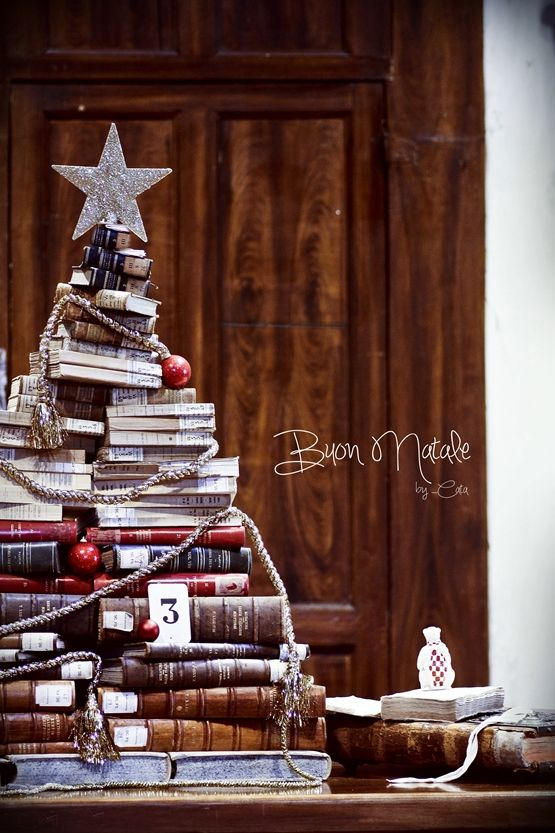 Christmas tree made from books.  This was what Oliver wanted for a Christmas tree this year!