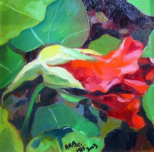 "Daily Paintworks - ""Nasturtium 1"" - Original Fine Art for Sale - © Anita Badami"