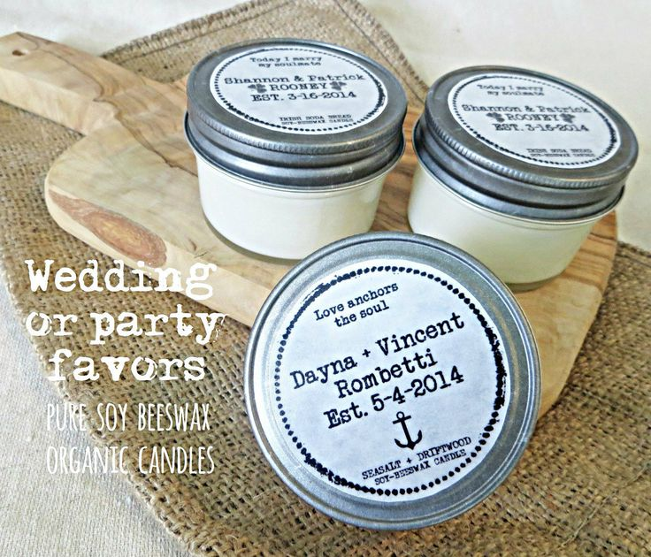 12 Soy Beeswax Candles Custom Wedding Or Shower Party Gift Favors With Personalized Lid Label By Hand Poured Organic Natural Infused