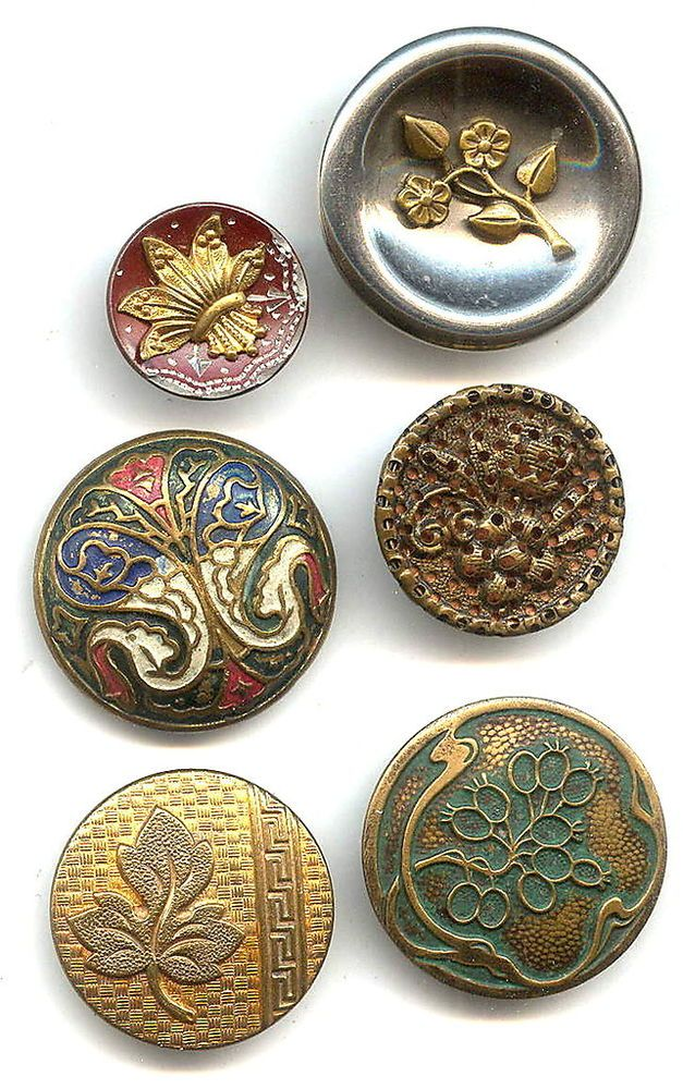 6 Old Victorian Floral Metal Buttons #2951