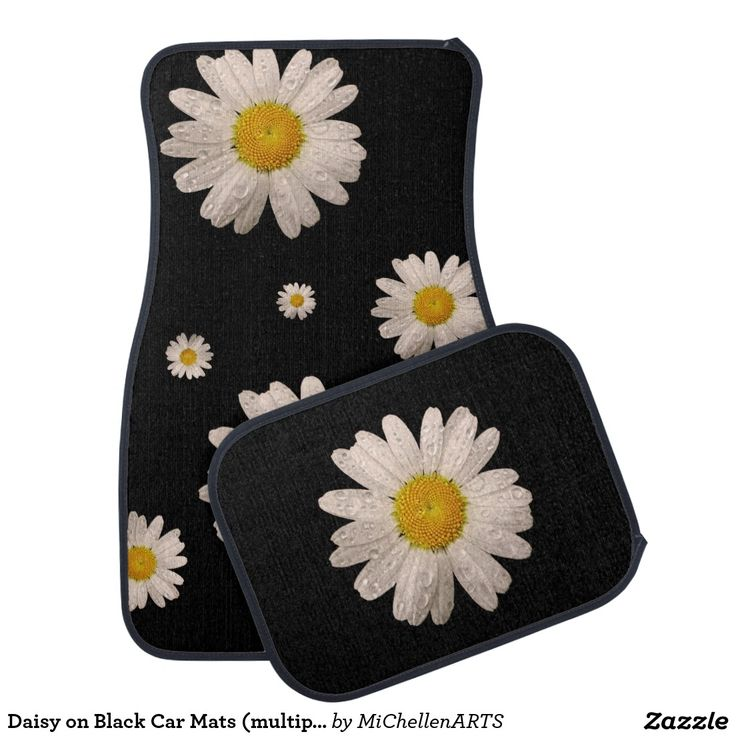 Daisy on Black Car Mats (multiple) - Car Floor Mats and Automobile Accessories